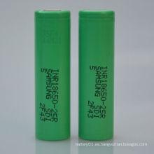 Batería de litio-ion 18650 Batería 2500mAh 3.7V Corriente de descarga alta
