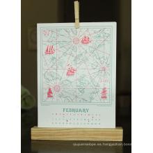 Nuevo Diseño personalizado Cartulina Folletos Dest Calendar Printing