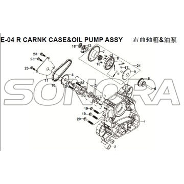 E-04 R CARNK CASE & BOMBA DE ÓLEO ASSY para XS125T-16A Fiddle III Spare Part Top Quality