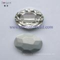 Grânulos de cristal de vidro oval niquelado 20x29mm platina