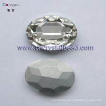 20x29mm Platin plattiert Oval Glas Kristall-Perlen