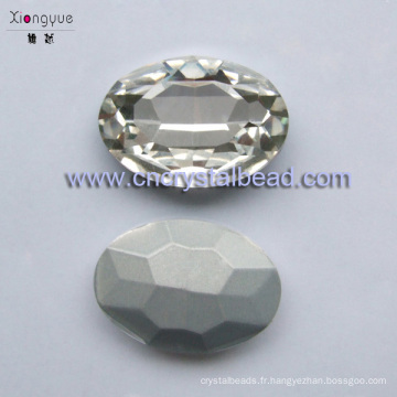 Perles en cristal de verre ovale plaqué platine 20x29mm