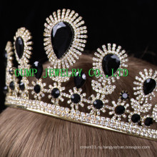 Черные белые каменные короны Pageant Crystal Tiaras