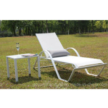 Patio Stack Beach Stuhl Aluminium Batyline Mesh Stoff Sling für Hotel Pool Beach Rasen Deck