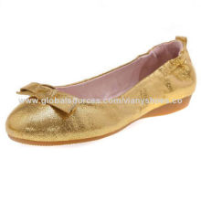 Lady's foldable shoes, metallic PU, pointed toe, soft & comfortable rubber outsole, OEM orders OK