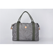 Leather Trimmed Duffel Black Nylon Weekend/Travel Bag