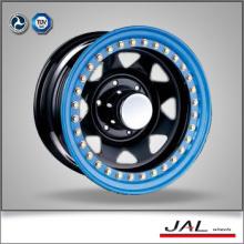 Blue Lip Black Finish Rueda de remolque Rueda de rueda de coche con Golden Beadlock