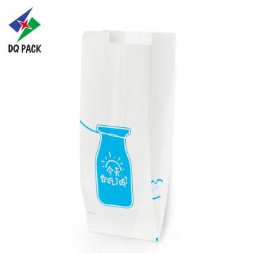 Bolsa de papel kraft branco para bolo em formato de travesseiro para pão assado