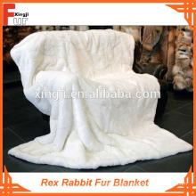 Manta de piel de conejo Rex genuino / real
