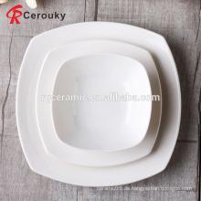 FDA / SGS genehmigte billige weiße mikrowellable quadratische Form weiße quadratische Porzellanplatte