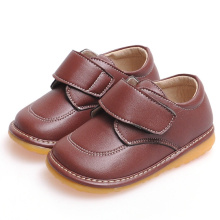 Chaussures douces en cuir véritable massif Brown Baby Boy