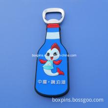 Custom Logo Soft PVC Beer Shaped Promotional Bottle Opener/Can Opener