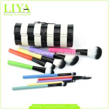 multi color 10 pieza nylon pelo maquillaje cepillo conjunto con estuche