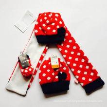Atacado jacquard tricô padrão lenço chapéu e conjunto de luva