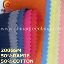 Algodão sólido tecido de moda Ramie para vestuário têxtil (GLLML454)