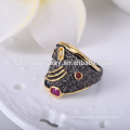 Anéis de jóias antigas anéis de dedo das mulheres com anéis de chapeamento de ouro preto jóias