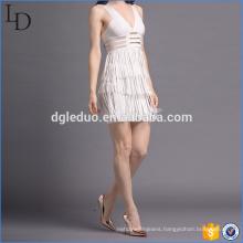 New style ladies fashion women backless tassels mini evening dress