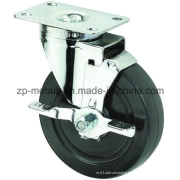 O rodízio de borracha preto de tamanho médio de 4inch Biaxial roda com freio lateral