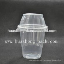 Tasse jetable en plastique claire claire du plastique 8oz de vente avec le couvercle plastique