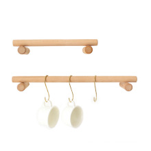 Wooden shelf with metal hooks cup holder