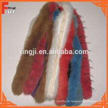 Pele de raposa tingida de alta qualidade Tira guarnição de pele real