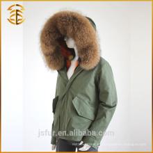 Las mujeres baratas de encargo del nuevo estilo que alinean la piel larga del estilo de la chaqueta del estilo de la piel