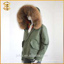 2017 Winter New Army Green Lady Vestes Femme Real Fur Parka