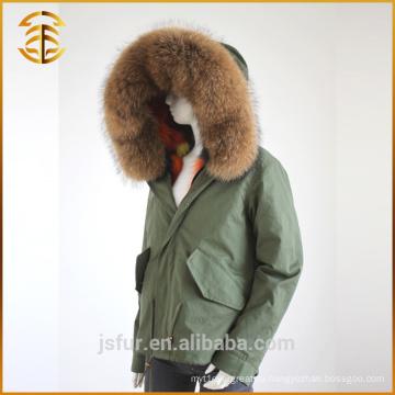 Новый стиль пользовательских дешевых женщин подкладка куртка длинный стиль меха парка