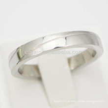 Engraved 2 linhas de prata simples anéis de noivado baratos para as mulheres