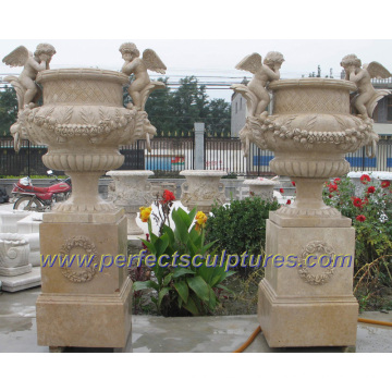 Stone Marble Garden Flower Planter for Outdoor Sculpture (QFP249)