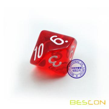 Bescon Polyhedral 10 Sides Dice with Number 1-10, Red Transparent 10 Sided Dice, 10 Sides Cube 1-10