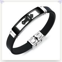 Moda jóias de aço inoxidável jóias pulseira de silicone (lb586)