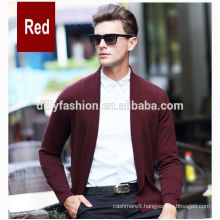 Pure color cashmere lapels mens plain knitting cardigan without buttons mens cardigan
