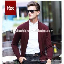 Lapis de caxemira de cor pura masculina casaco de tricô simples sem botões cardigan para homens