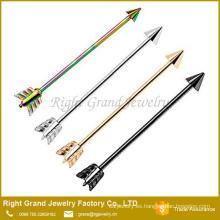 Quirúrgicos de acero de titanio plateado flecha Industrial cartílago pendientes