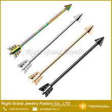 Pendientes de cartílago industrial de acero quirúrgico plateado titanio de la flecha