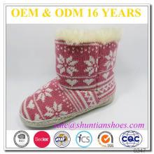 Новый стиль снежинка трикотажные плюшевые накладки ребенка зимой крытый ребенка сапоги