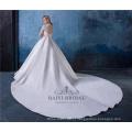 Elegante appliqued v-neck manga longa vestidos de noiva de cetim vestido de noiva
