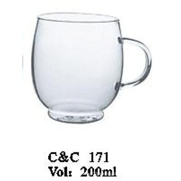 Glass Juice Cup Glass Water Cup Glass Beer Cup, Colored Drinking Mug Round Shape Glass Cup with Handle