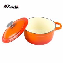 3 cuivres en fonte émaillée en cuivre cuite avec couvercle de poêle
