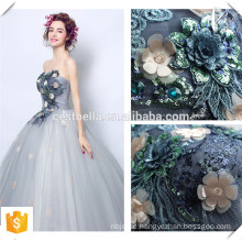 Graues florales langes Ballkleid-Kleid-elegantes Abend-formales Kleid weg von der Schulter in plus Größen-Kleid für Frau
