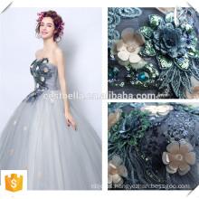 Gris Floral largo vestido de bola vestido Vestido formal de noche elegante de hombro en vestido de talla más para la mujer