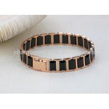 2015 neue neue Art und Weiseschmucksachen rosafarbenes Gold überzogenes schwarzes Titankeramikarmband WS441