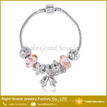 Vente chaude Charme Bracelet Bracelet Perles de verre Rond Bracelet Charms Bell Serpent Chaîne