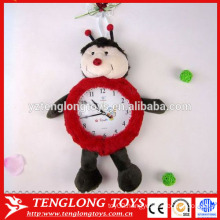 China factory plush clock cover plush animal clock cover ladybird shaped plush cover