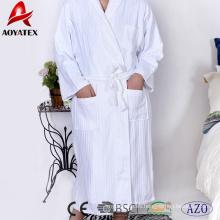 Albornoz 100% algodón jacquard raya mantón blanco