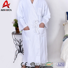 100% cotton jacquard stripe shawl collar white bathrobe