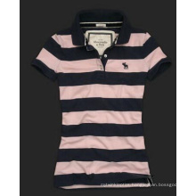 Women′s Yarn Dye Polo T-Shirt