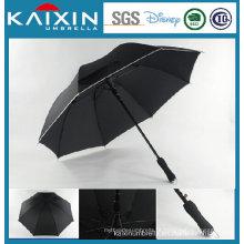 Pongee tecido Black Coating Golf Umbrella com EVA Handle