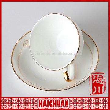 3oz stylish delicate fine porcelain cup saucer set with gold handle and stainless steel spoon